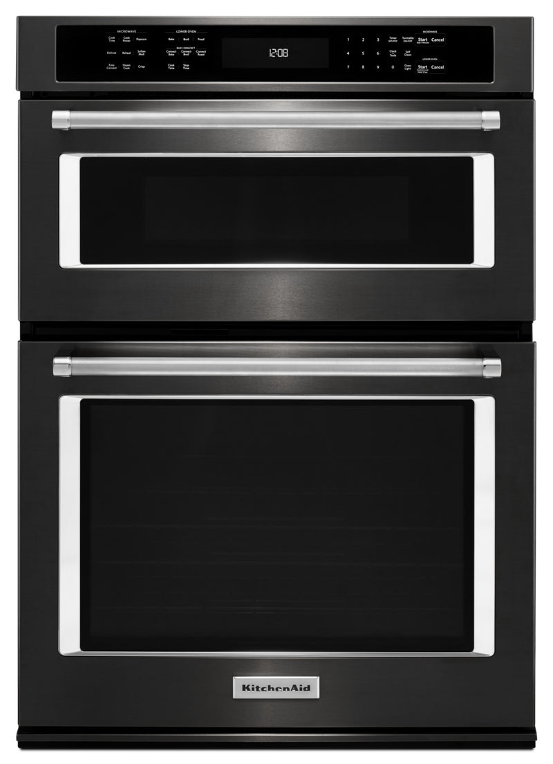 KitchenAid Black Stainless Steel Wall Oven (5.0 Cu. Ft.) w/ Microwave (1.4 Cu. Ft.) - KOCE500EBS