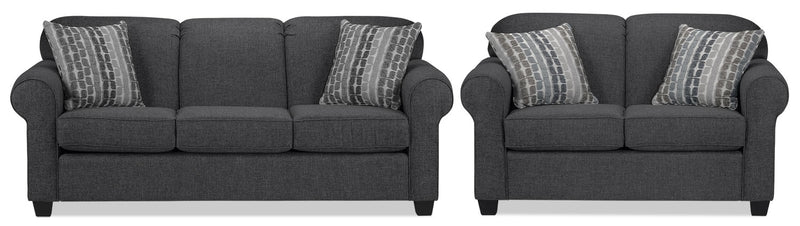 Staveley Sofa and Loveseat Set - Graphite