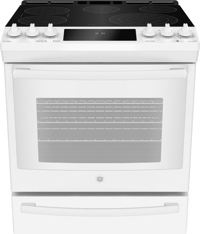 GE Profile 6.3 Cu. Ft. Slide-In 5-Element Smooth-Top Electric Range – PCS940DMWW