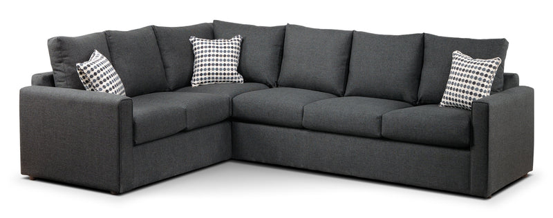 Serena 2-Piece Sectional with Right-Facing Queen Sofa Bed - Charcoal