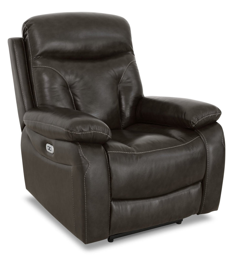Allence Genuine Leather Power Reclining Chair - Steel