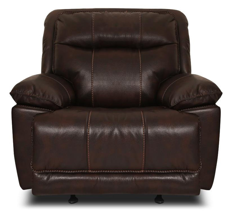 Anselm Leather-Look Fabric Reclining Chair - Walnut