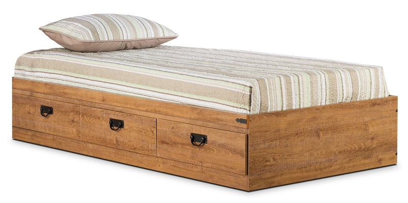 Fleetwood Twin Mates Platform Bed - Rustic style Bed in Light Wood Engineered Wood and Laminate Veneers