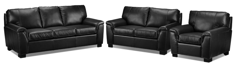 Campbell Sofa, Loveseat and Chair Set - Black