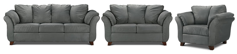 Breton Sofa, Loveseat and Chair Set - Dark Grey