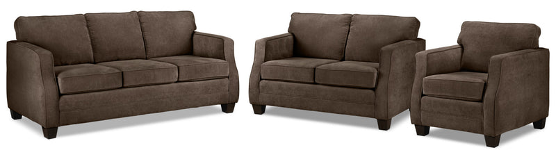 Chelsea Sofa, Loveseat and Chair Set - Chocolate