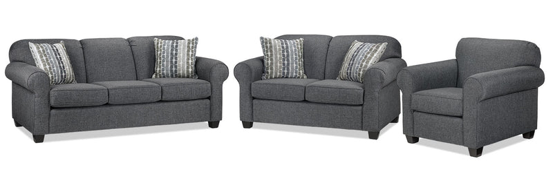 Staveley Sofa, Loveseat and Chair Set - Grey