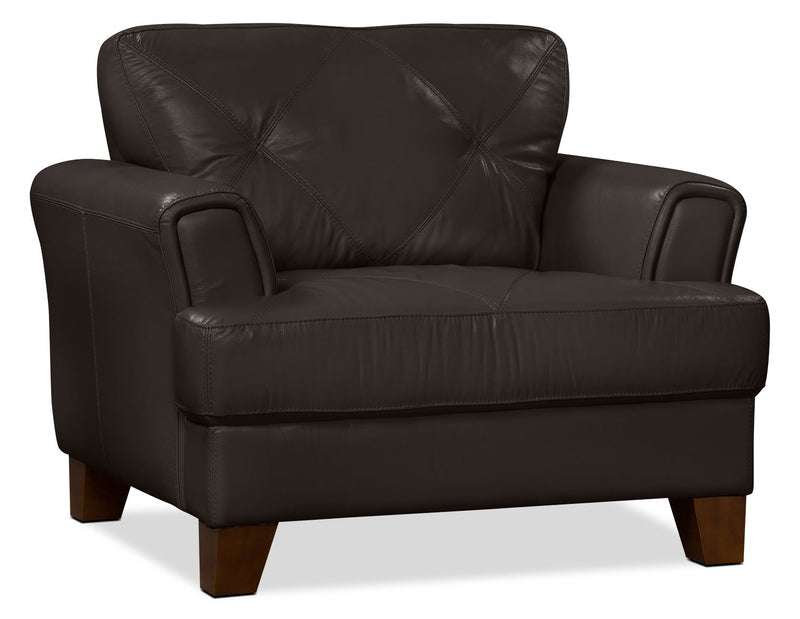 Ventnor 100% Genuine Leather Chair - Chocolate