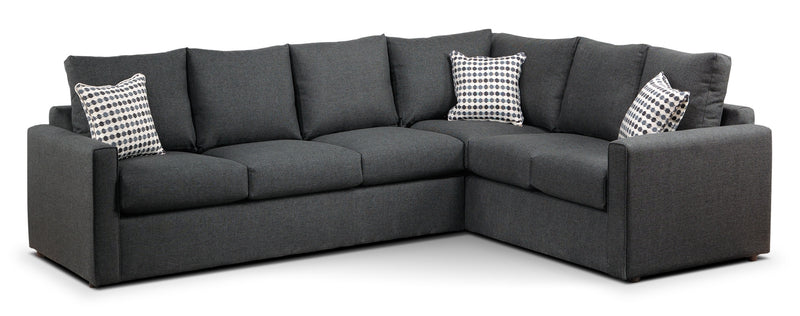 Serena 2-Piece Sectional with Left-Facing Queen Sofa Bed - Charcoal