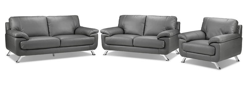 Stamford Sofa, Loveseat and Chair Set - Grey
