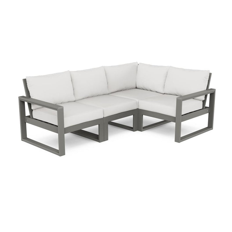 POLYWOOD® EDGE 4 Pc Modular Deep Seating Set - Slate Grey / Natural Linen