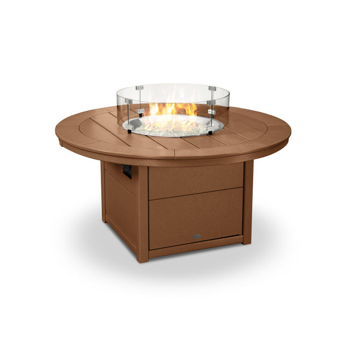 "POLYWOOD® Round 48"" Fire Pit Table in Teak"