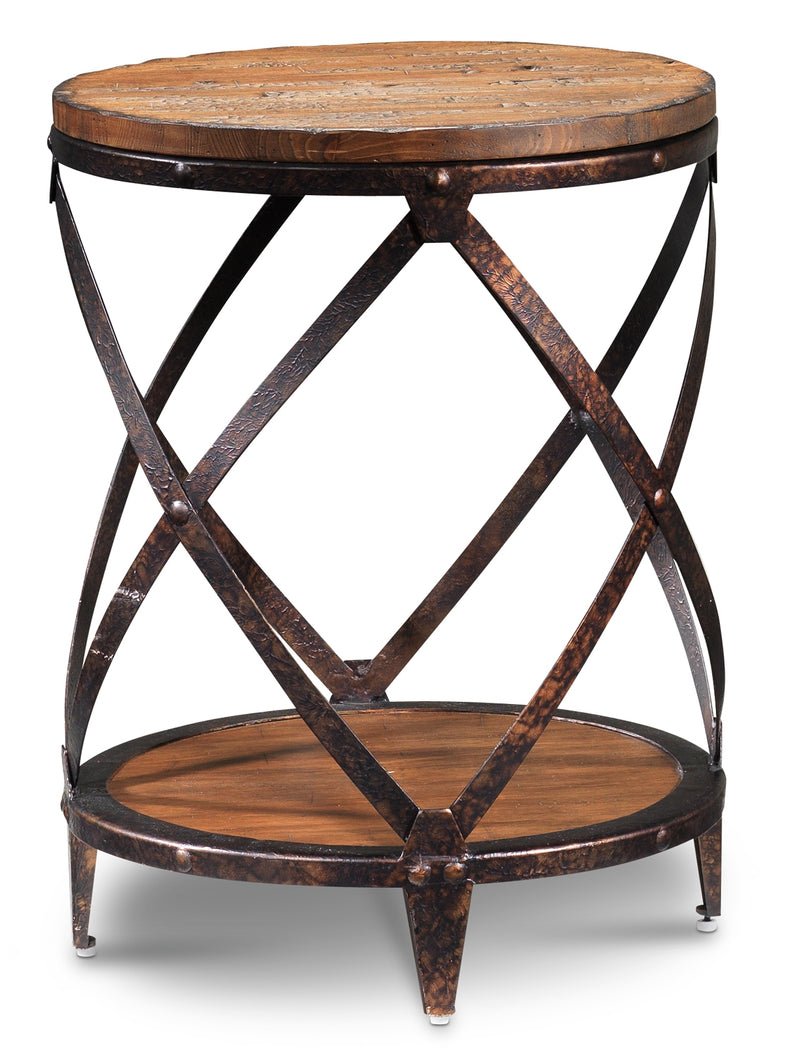 Antiquity Round End Table - Distressed Natural Pine