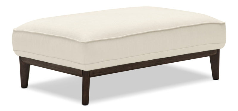 Galt Linen-Look Fabric Ottoman - Cotton