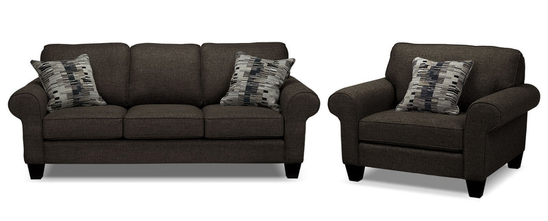 Mandolin Sofa and Chair Set - Pewter