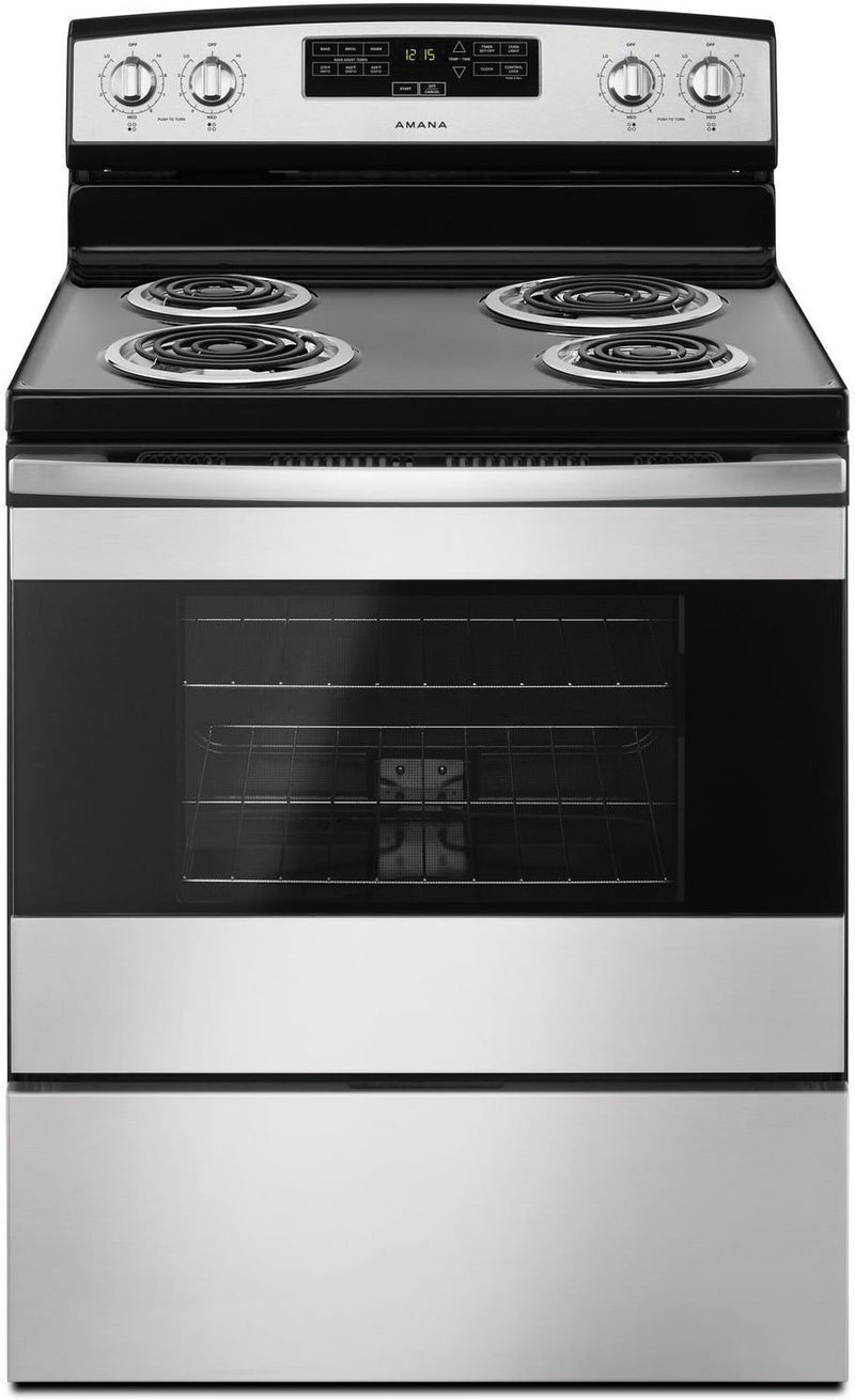 Amana Black-on-Stainless Steel Freestanding Electric Range (4.8 Cu. Ft.) - YACR4303MFS