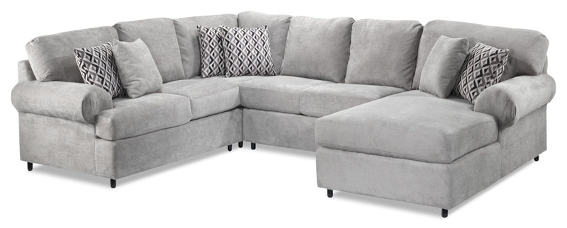 Macon 4-Piece Sectional with Right-Facing Chaise - Ash