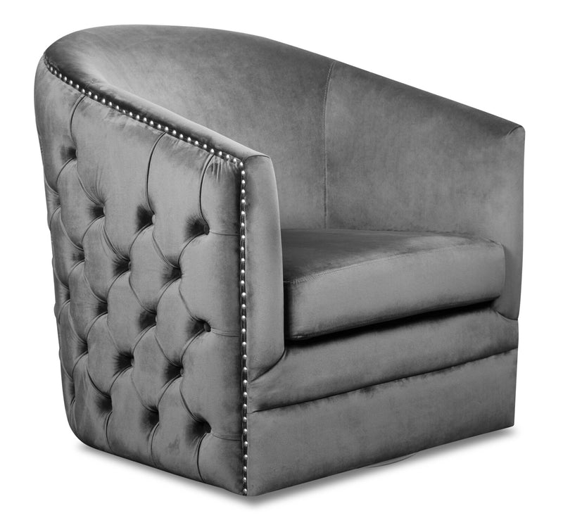 Kelby Velvet Swivel Accent Chair - Grey