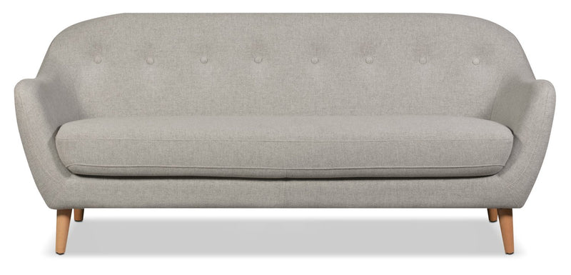 Mona Linen-Look Fabric Sofa - Light Grey