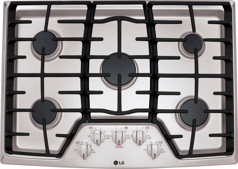 "LG Appliances Stainless Steel 30"" Gas Cooktop - LCG3011ST"