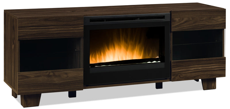 "La Mirada 62"" TV Stand with Glass Ember Firebox - Brown"
