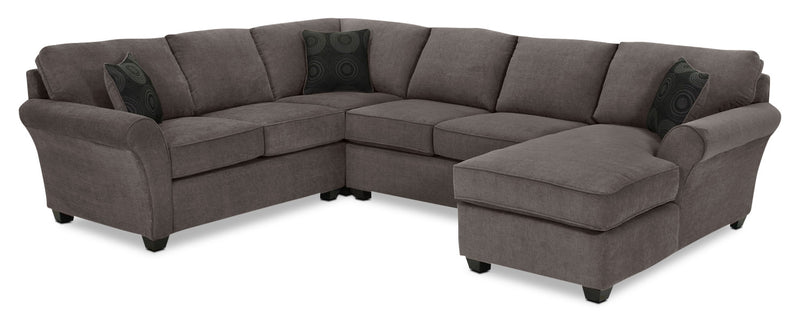Eckel 4-Piece Sectional with Right-Facing Chaise - Charcoal