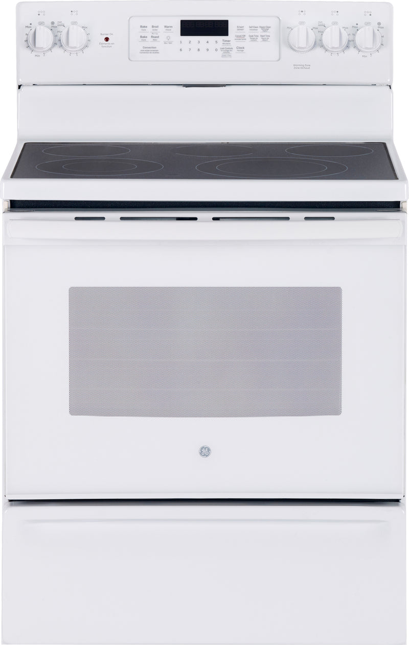 GE White Freestanding Electric Convection Range (5.0 Cu. Ft.) - JCB840DKWW