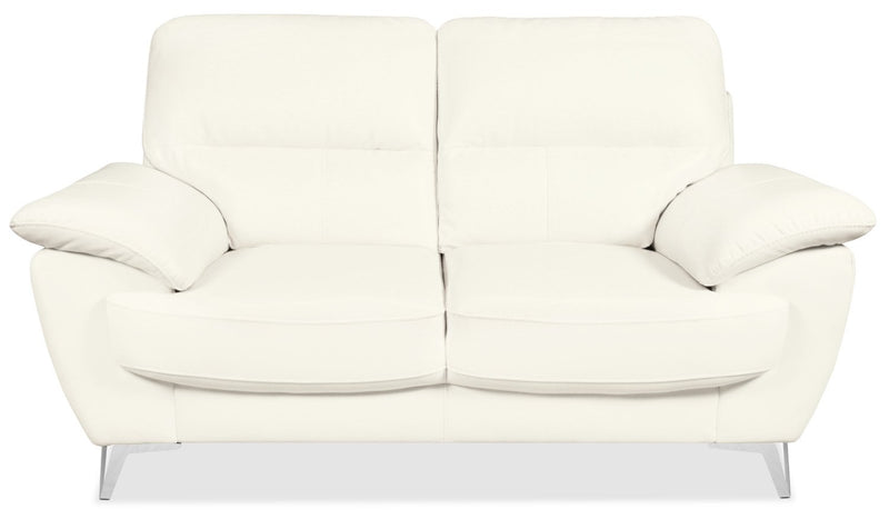 Protter Leather-Look Fabric Loveseat - Snow