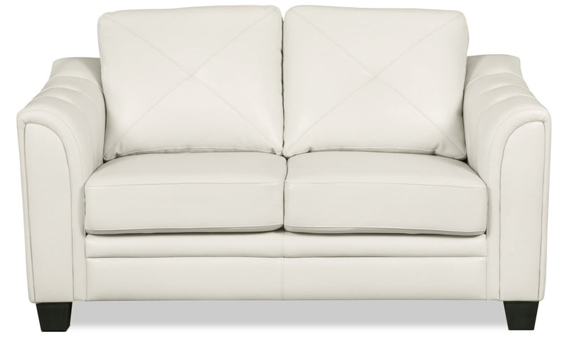 Henrick Leather-Look Fabric Loveseat – Beige