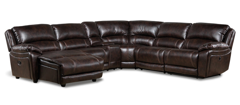 Mallone 6-Piece Power Sectional with Left-Facing Chaise - Walnut
