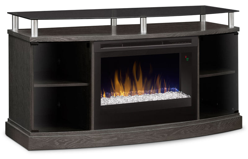 "Wilton 53"" TV Stand with Glass Ember Firebox - Silver"