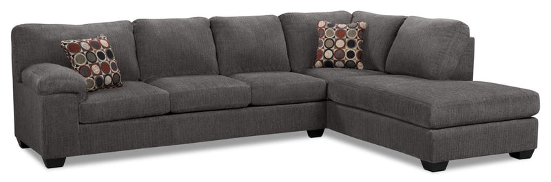 Farrow 2-Piece Chenille Right-Facing Sectional – Grey