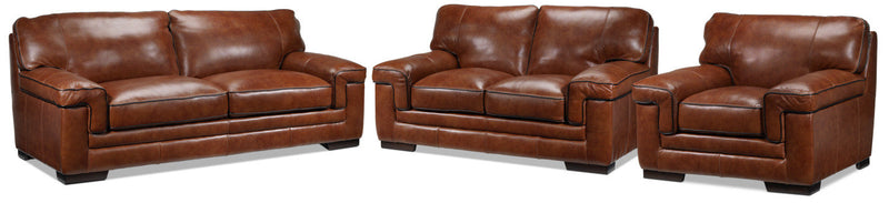 Colten Sofa, Loveseat and Chair Set - Brown
