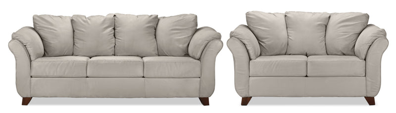 Breton Sofa and Loveseat Set - Silver Grey
