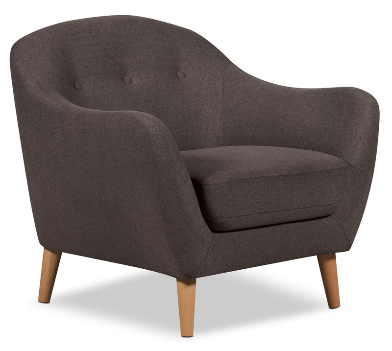 Mona Linen-Look Fabric Chair - Dark Grey