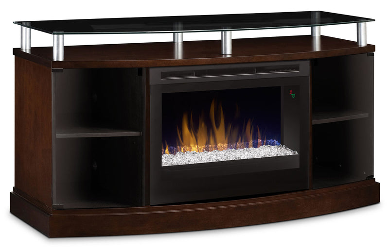 "Wilton 53"" TV Stand with Glass Ember Firebox - Mocha"