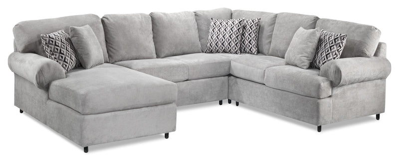 Macon 4-Piece Sectional with Left-Facing Chaise - Ash