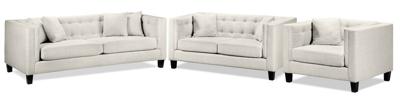 Arbor Sofa, Loveseat and Chair and a Half Set - Wheat