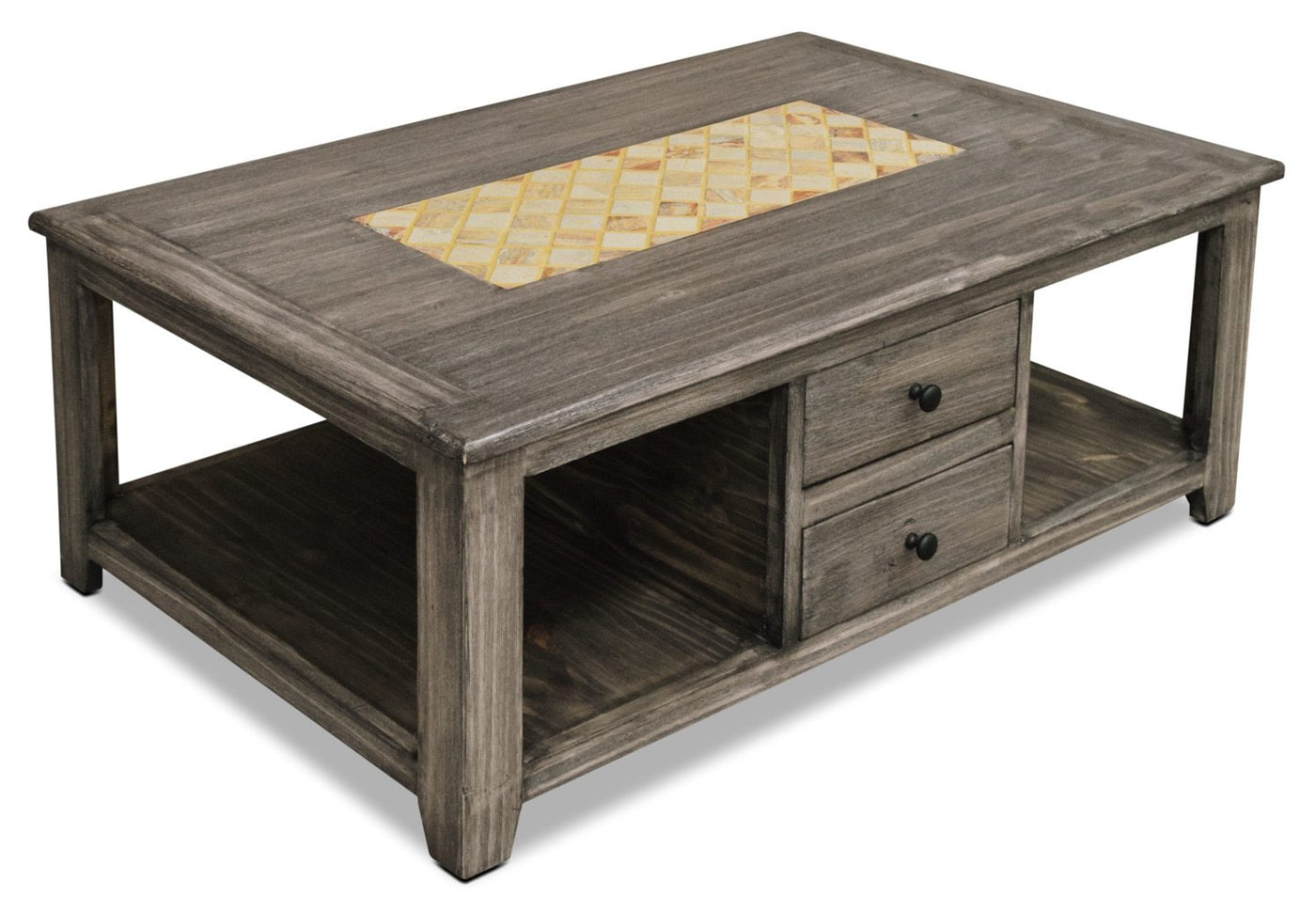Solid Pine Coffee Table.Reidville Solid Pine Coffee Table With Marble Inset Grey