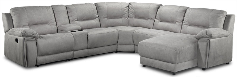 Halcyon 6-Piece Reclining Sectional with Right-Facing Chaise - Light Grey