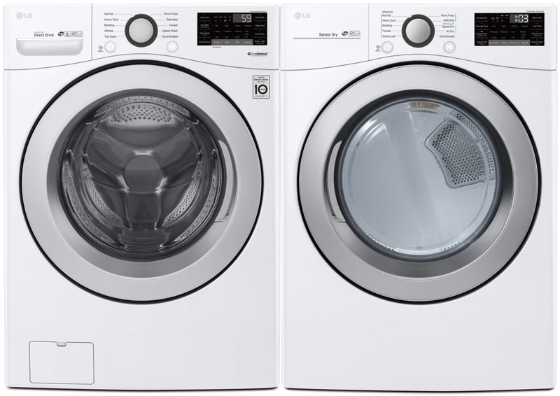 LG 5.2 Cu. Ft. Front-Load Washer and 7.4 Cu. Ft. Dryer with Wi-Fi – White