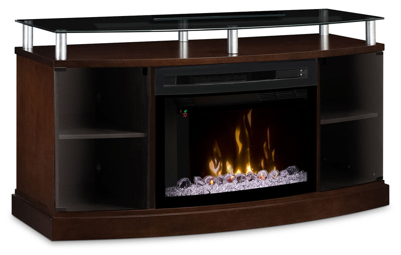"Wilton 53"" TV Stand with Multi-Fire XD™ Glass Ember Firebox - Mocha"
