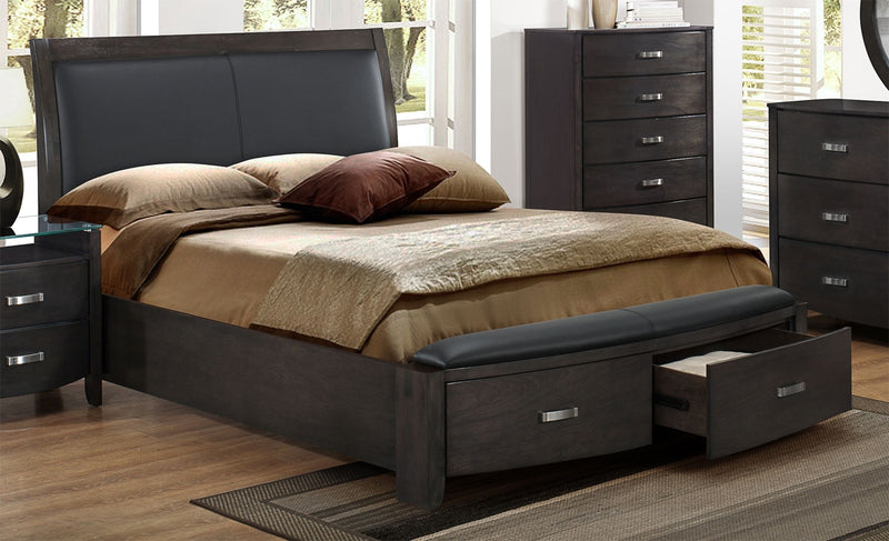Chamois Queen Bed - Charcoal