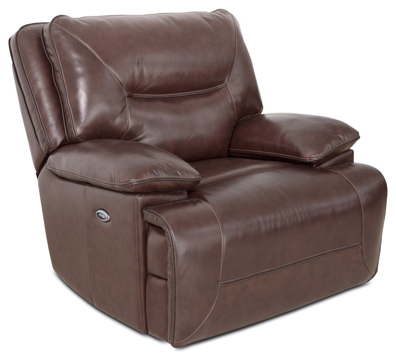 Vega Genuine Leather Power Reclining Chair - Burgundy
