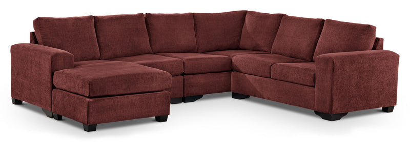 Mayat 3-Piece Sectional with Left-Facing Corner Wedge - Mulberry