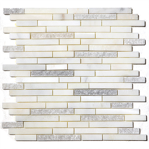 Carrara Marble linear Shape Mosaic Natural Stone Oriental white mix finishes on 12 x 12 sheets