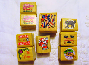 Holiday Tiny Small Rubber Stamps Lot Christmas Halloween