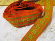 Orange Lime Vintage Embroidered Ribbon Trim