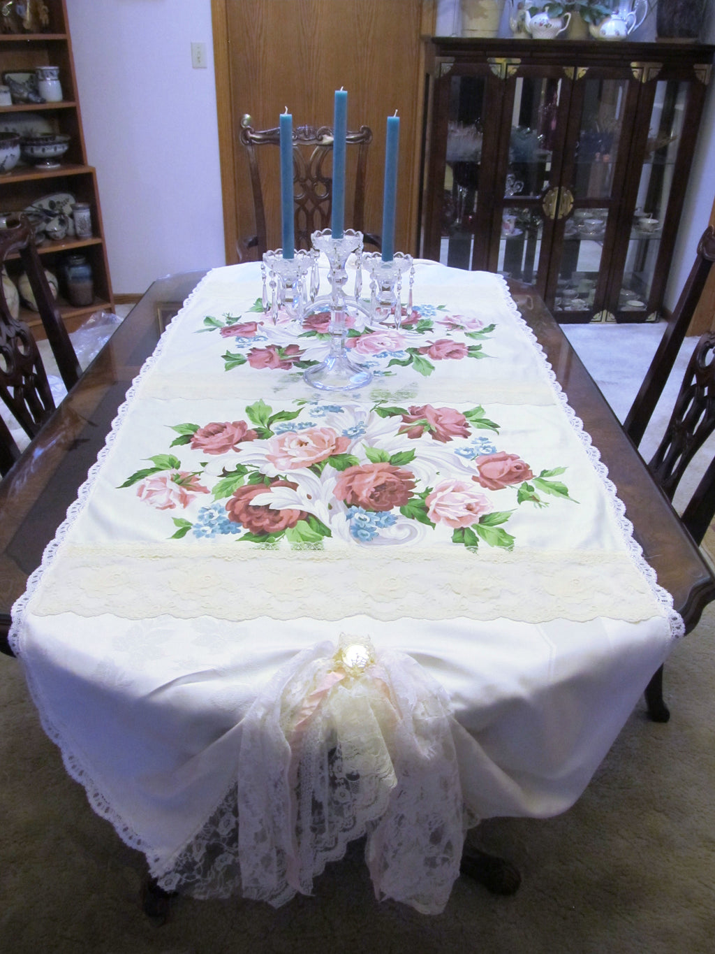 "Vintage Waverly Roses Lace Table Runner - White Off White - Special Occasion  OOAK - Vintage Style Rustic 33"" x 86"""