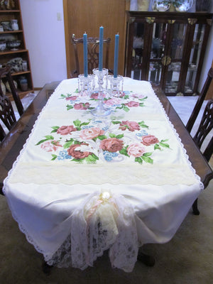 Vintage Waverly Roses Lace Table Runner - White Off White - Special Occasion  OOAK - Vintage Style Rustic 33